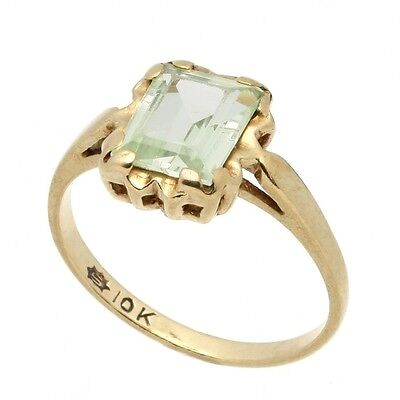 "Vintage 10K Solid Yellow Gold Emerald-Cut Green Amethyst Solitaire Ring ""AS IS"""