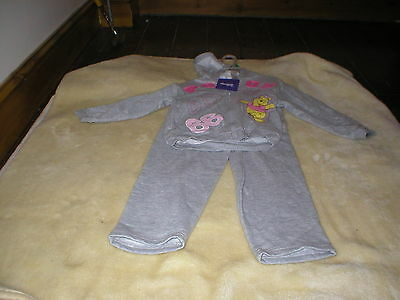 Brand New With Tags Disney Winnie Pooh Tracksuit Girl Age 4 Grey Fleecy Feel
