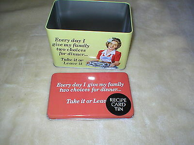 Brand New Novelty Recipe Card Tin With Blank Cards Every Day I Give Me Faimly
