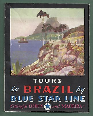1936 Brochure Tours To Brazil & Argentina By Blue Star Line Cruise Ships