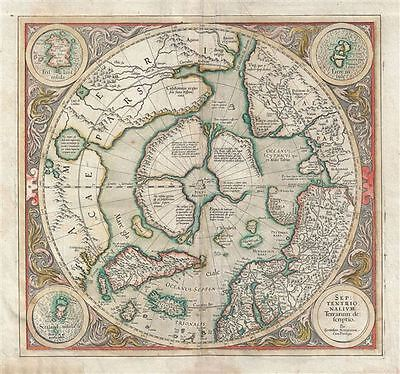 1606 Mercator Hondius Map of the Arctic (First Map of the North Pole)