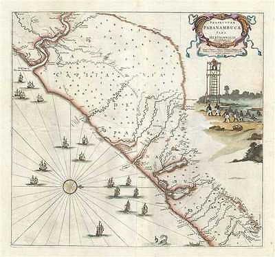 1721 Covens and Mortier Map of the Southeastern Coast of Brazil