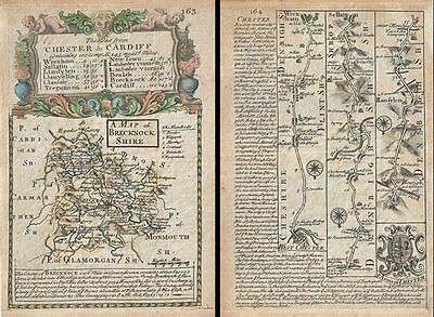 1736 Owen and Bowen Map of Brecknockshire w/ Road Map: Chester to Mongomery