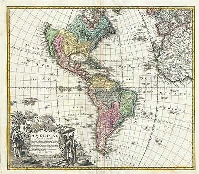 1746 Homann Heirs Map of North America and South America