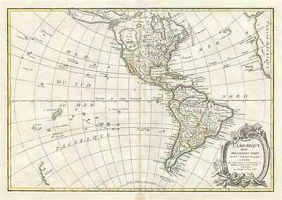 1762 Janvier Map of North America and South America (Sea of the West)