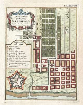 1764 Bellin Plan or Map of the Cape of Good Hope (Cape Town), South Africa