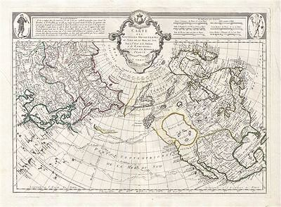 1776 De L'Isle / Santini Speculative Map of North America, the Arctic, and Siber