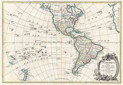 1783 Janvier Map of North America and South America
