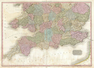 1818 Pinkerton Map of Southern England ( includes London )