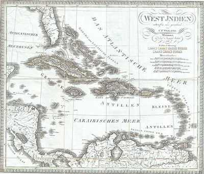 1825 Weiland Map of the West Indies