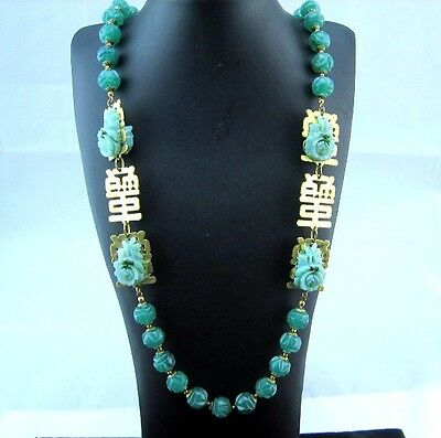 Miriam Haskell Chinese faux carved Jade Flower Letters Long Vintage Necklace