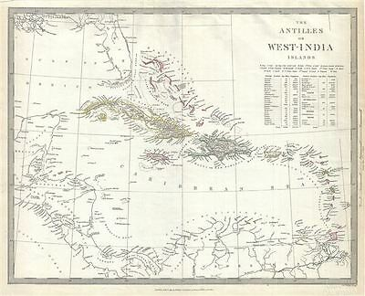 1835 S.D.U.K. Map of the West Indies and Caribbean