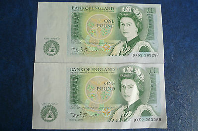 2 x D H F Somerset £1 Banknotes consecutive numbers UNC