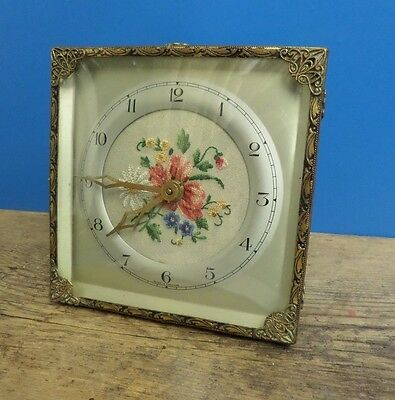 VINTAGE 1940s / 50 s , PETIT POINT EMBROIDERY CLOCK FOR REPAIR / SPARES .
