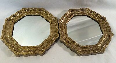 Vintage Pair Homco Home Interiors Gold Octagon Wall Accent Mirrors
