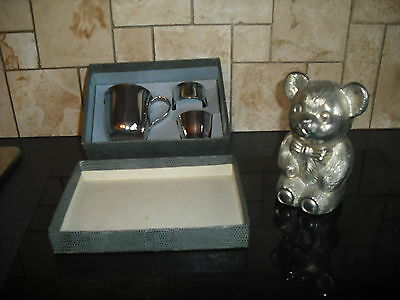 Boxed Silver Plated Cup,Napkin Ring and Eggcup set plus Money Box