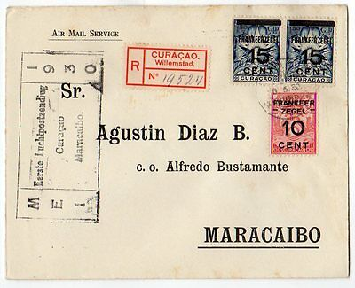 Curacao: 1930 Airmail First flight cover Willemstad to Maracaibo, Venezuela