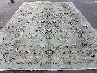 Fine Old Traditional Hand Made Persian Oriental Green Wool Carpet Rug 400x300cm