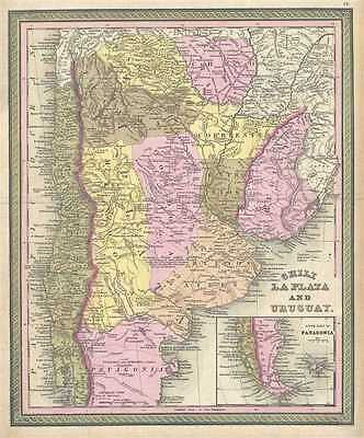 1849 Mitchell Map of Chile, Argentina and Uruguay