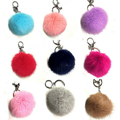 Real Rabbit Fur Pompom Keyring Bag Charm Keychain 8cm Ring Pom Pom - UK SELLER