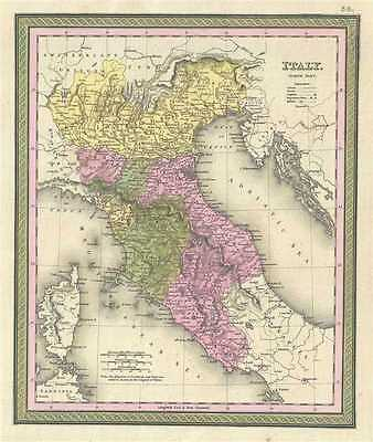 1849 Mitchell Map of Northern Italy: Tuscany, Venice, Milan