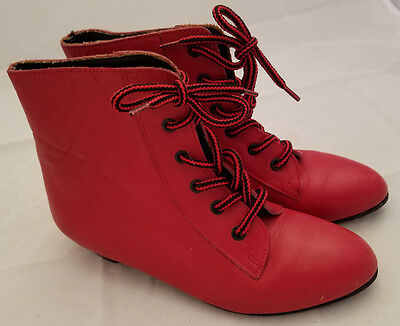 RARE Vintage Pleasant Company KIRSTEN Red Boots Sz  2 1/2 American Girl Leather