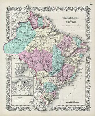 1856 Colton Map of Brazil and Guyana
