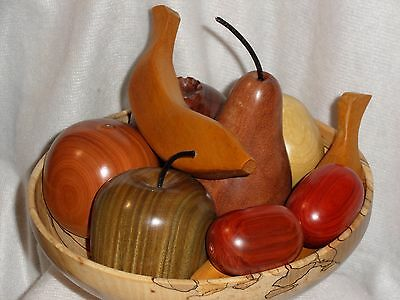 Decorative Wooden Fruit in Exotic Woods including Figured Mahogany & Canarywood