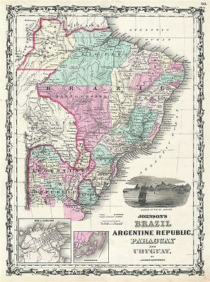 1861 Johnson Map of Brazil, Paraguay, Uruguay and Argentina