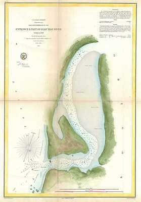 1861 U.S. Coast Survey Chart or Map of the Coquille River and its Entrance, Oreg