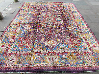 Old Traditional Hand Made Persian Rug Oriental Blue Wool Large Carpet 386x290cm
