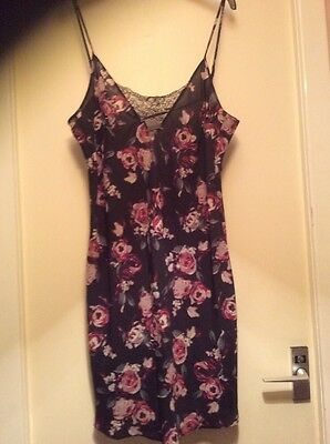 M & S Rosie for Autograph Ladies Short Chemise/ Nightdress-S14 -Black/Pink -BNWT
