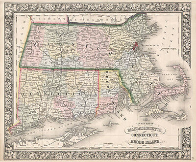 1864 Mitchell Map of  Massachusetts, Connecticut and Rhode Island