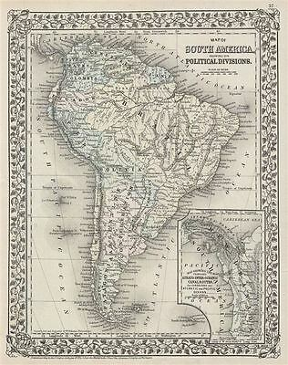 1872 Mitchell Map of South America