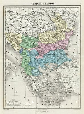1876 Migeon Map of Turkey in Europe