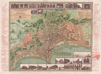 1886 Richter Large Size Pocket Map of Naples (Napoli), Italy