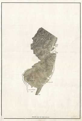 1890 Relief Map of New Jersey