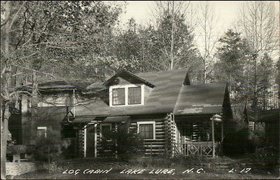 Lake Lure NC Log Cabin Real Photo Postcard