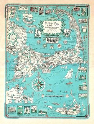 1960 Ernest Dudley Chase Map of Cape Cod (with Kennedy Compound)