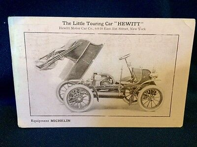 1906 Postcard Hewitt Little Touring Car Michelin Tires New York NY Trade Card Ad