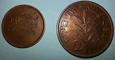 AFFORDABLE higher-end coins - PALESTINE 1937 1 mil and 1941 2 mils coins - LQQK!