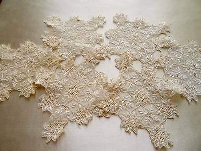 6 Antique Tulle Embroidered Doilies C.1900