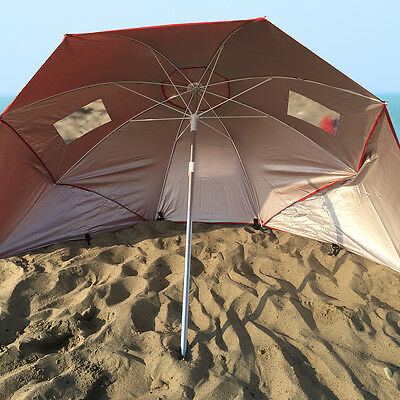 Red Sun Shade Portable Beach Weather Shelter Umbrella Sand Outdoor UV Protect