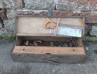 Vintage WOODEN Carpenters TOOL Box CHEST w/ Drawers + Job Lot TOOLS