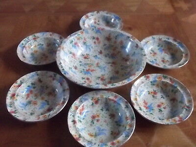 Fenton Silverdale 6 Desert Dishes With Matching Bowl Set