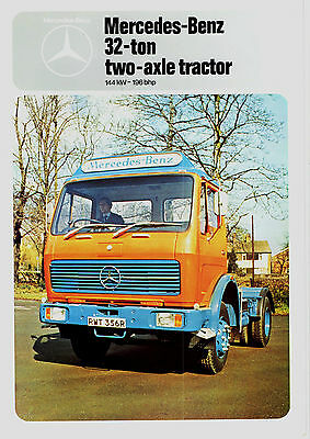 1977/1978 Mercedes Benz 1619S Heavy Duty 32 Ton 2 Axle Tractor/lorry Brochure