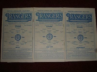 3 X Rangers Homes In Scottish Lge Cup 1963-64 (Ex Cond)