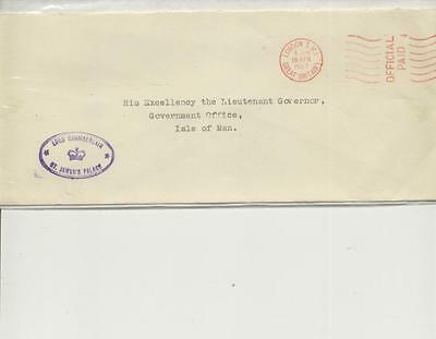 1967 embossed and cacheted envelope Lord Chamberlain to Isle of Man Governor