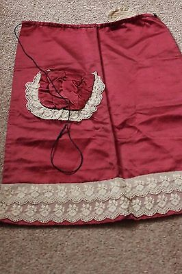 Vintage Victorian Apron with Cream Lace, Maroon Satin