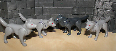 Playmobil - 4x Wolf - rote Augen - Tierpark,  Zoo, Waldtiere